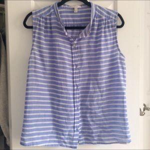 J. Crew Tops - J.Crew blue & white stripe sleeveless button-up